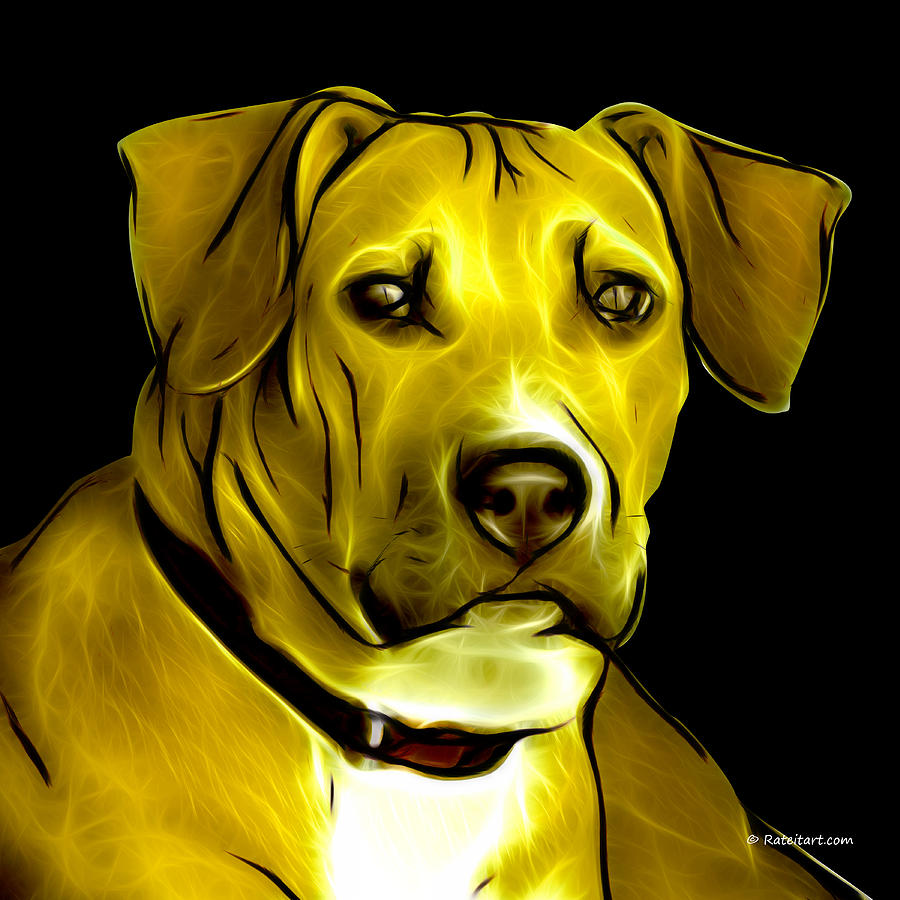 Pitbull Digital Art - Boxer Pitbull Mix Pop Art - Yellow by James Ahn
