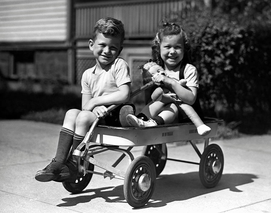 Child Photograph - Boy & Girl On Wagon by George Marks