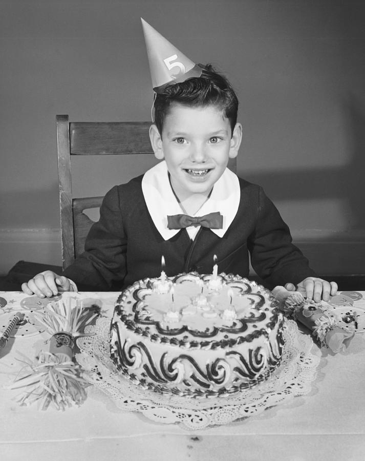 Child Photograph - Boy (2-3) In Party Hat With Birthday Cake, (b&w),, Portrait by George Marks