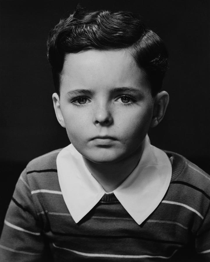 Child Photograph - Boy (6-7) Posing In Studio, (b&w), Portrait by George Marks