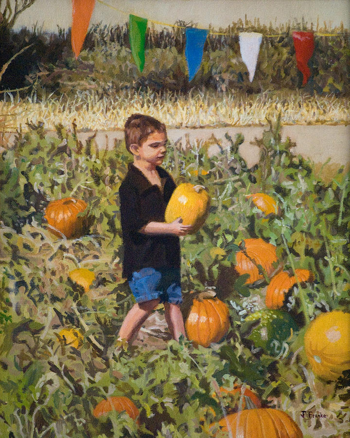 Pumpkins Painting - Boy At Pumpkin Festival by Joanna Franke