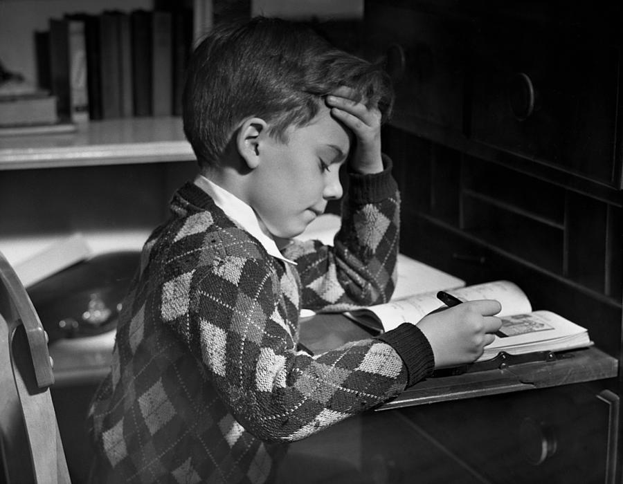 Child Photograph - Boy In Classroom W/book by George Marks