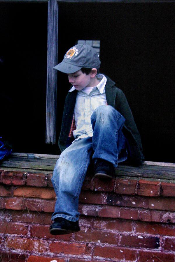 Mischief Photograph - Boy In Window by Kelly Hazel
