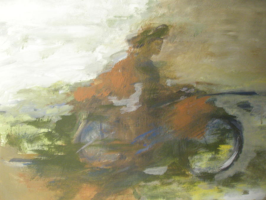 Abstract Painting - Boy On Bike by Linda McCarthy
