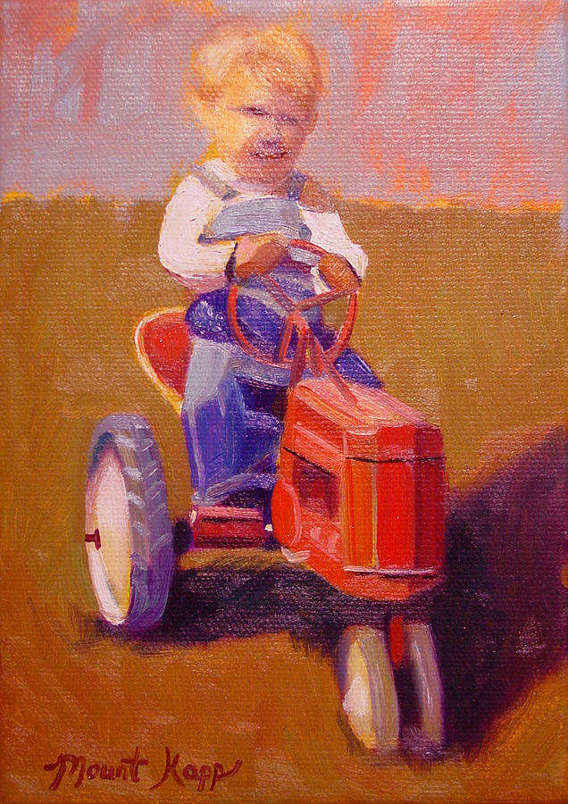 Farm Painting - Boy On Tractor by The Vintage Painter