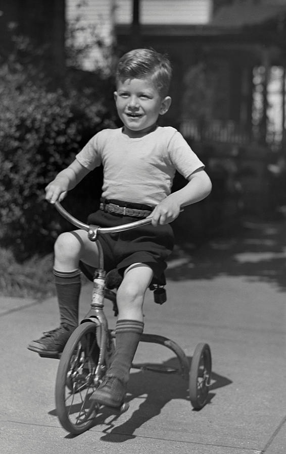 Child Photograph - Boy On Tricycle by George Marks