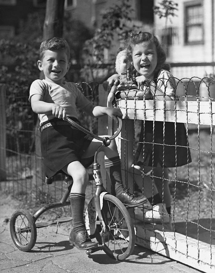 Child Photograph - Boy On Tricycle W/ Girl by George Marks