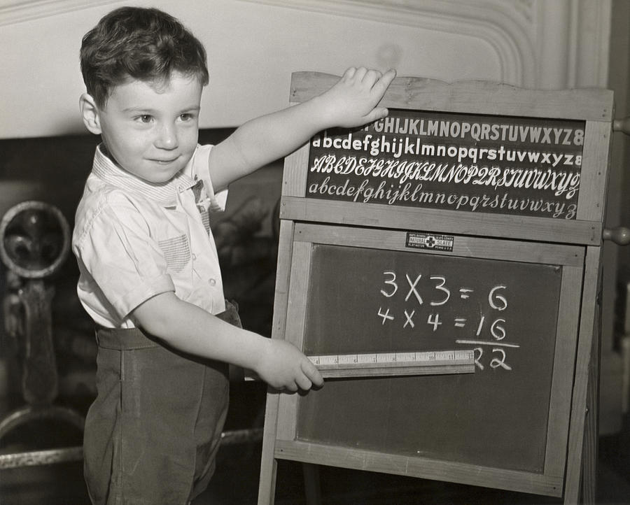 Child Photograph - Boy Playing School by George Marks