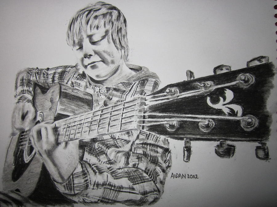 Boy With Guitar Drawing by Aidan Latham Boy With Guitar Drawing