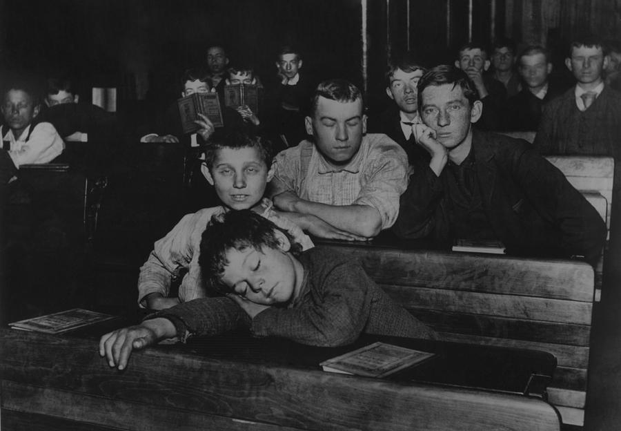 History Photograph - Boys And Teenagers Attend Night School by Everett