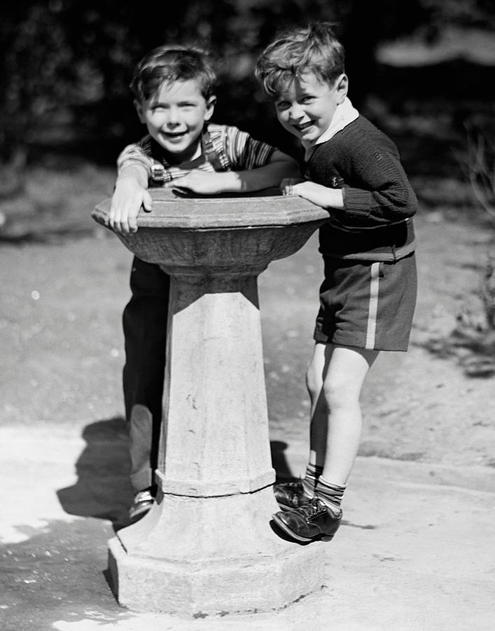 Child Photograph - Boys At Drinking Fountain by George Marks
