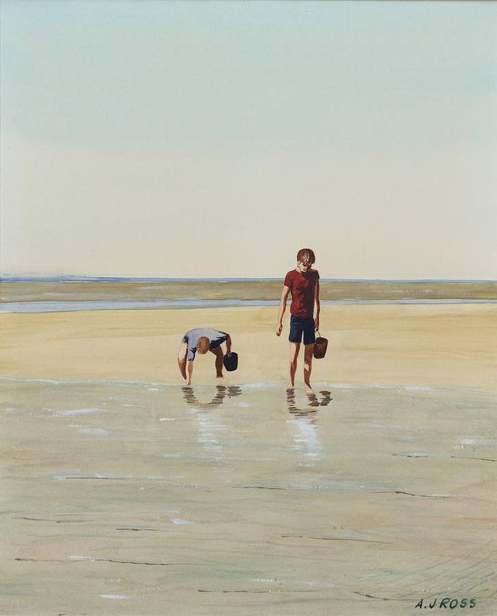 Seascape Painting - Boys Clamming by Anthony Ross