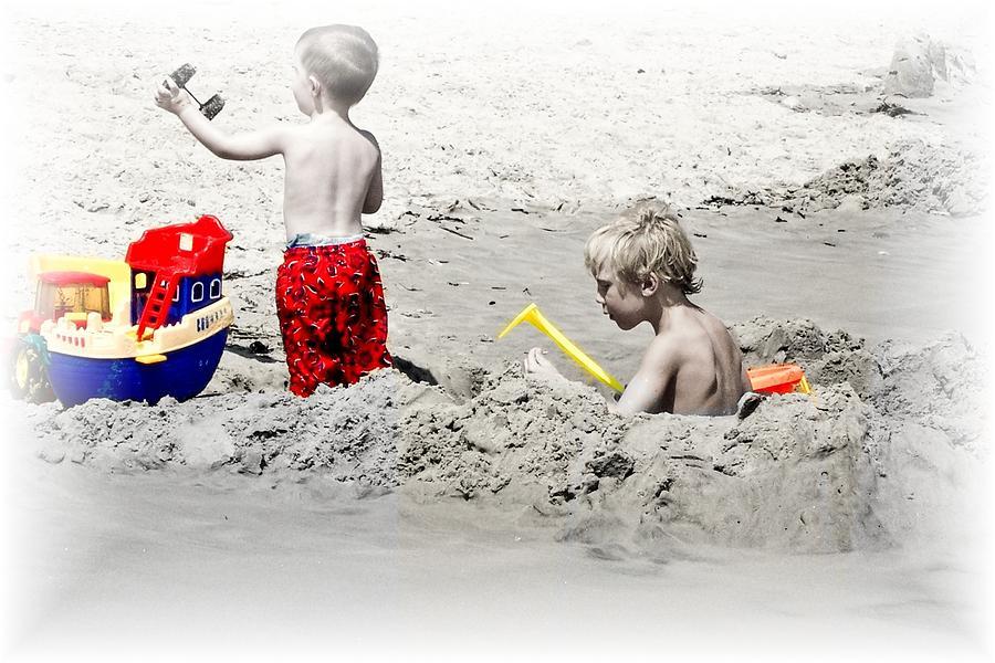 Sand Photograph - Boys Will Be Boys At The Beach Nj by Gwenn Dunlap