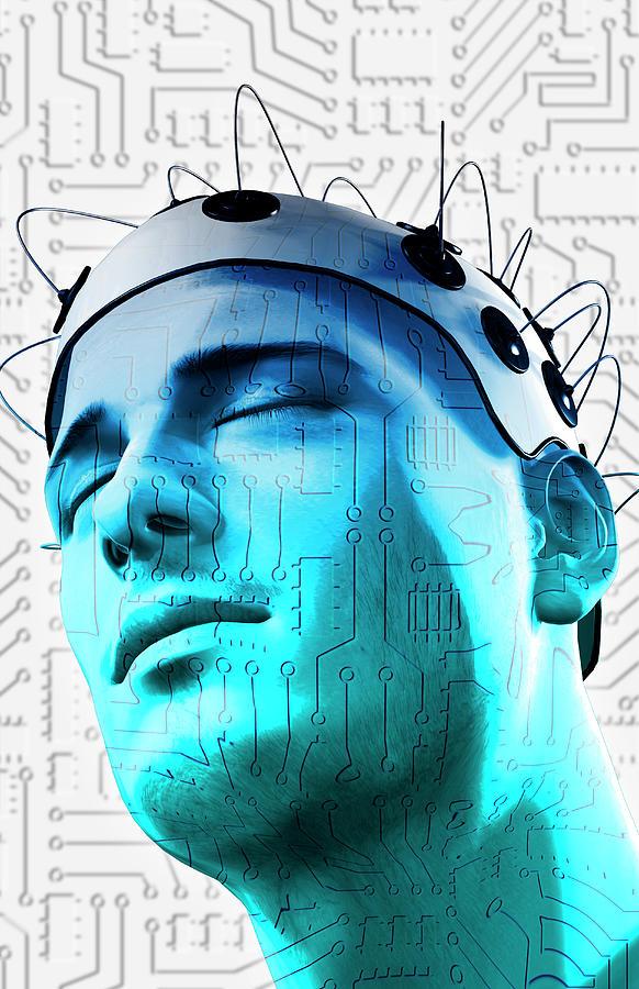 Vertical Digital Art - Brain Circuit by MedicalRF.com