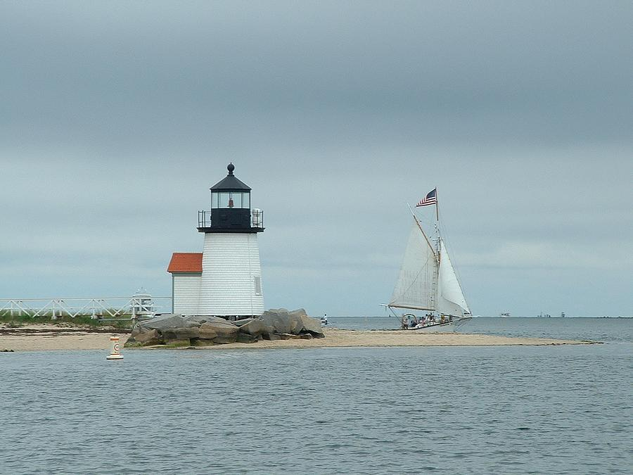 Sailboat Photograph - Brant Point Abeam by Lin Grosvenor