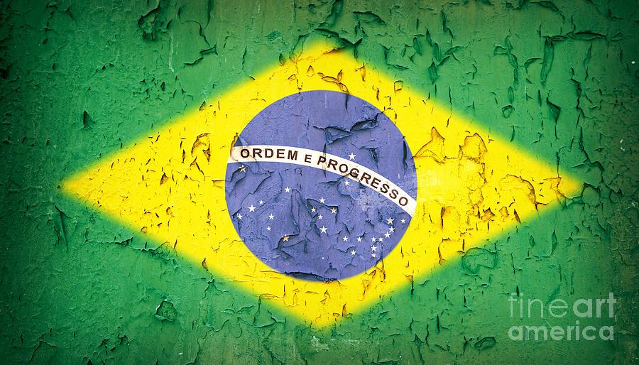 Aged Photograph - Brazil Flag Vintage by Jane Rix