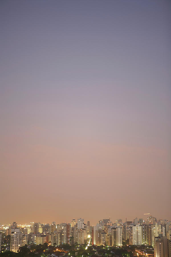 Vertical Photograph - Brazil, Sao Paulo, Cityscape At Sunset, Elevated View by Thomas Northcut