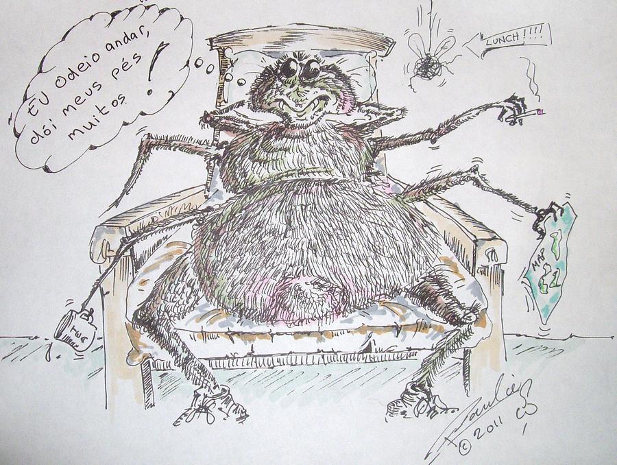 Brasil Drawing - Brazilian Wandering Spider by Paul Chestnutt