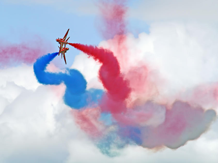Red Arrows Photograph - Break  Red Arrows - Dunsfold 2012 by Colin J Williams Photography