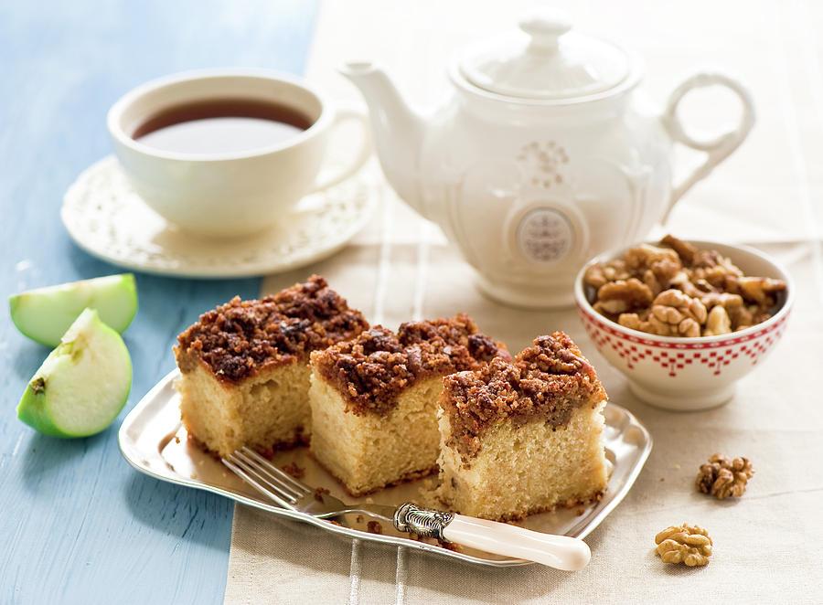 Horizontal Photograph - Breakfast With Nut Cake by Verdina Anna
