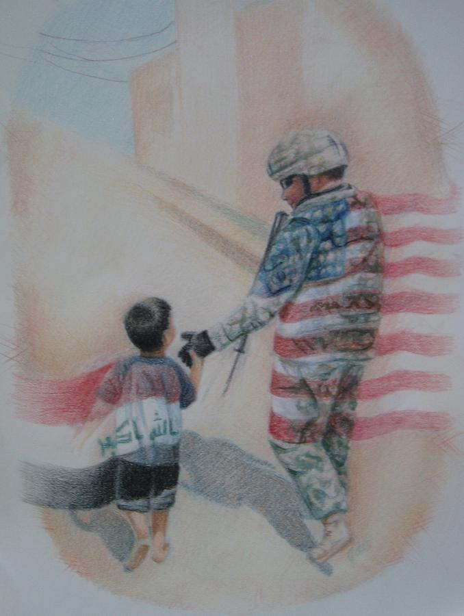War Drawing - Breaking Borders by Joanna Gates
