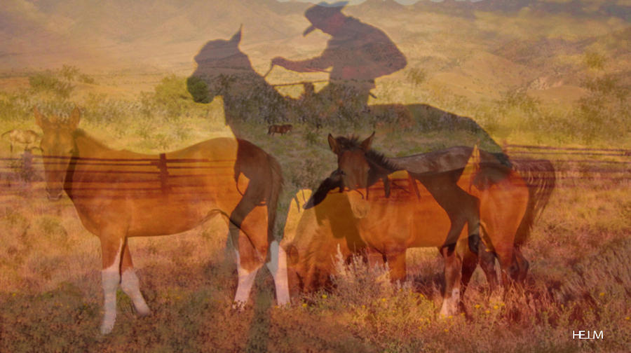 Western Paintings Digital Art - Breaking Sweat Busting Leather by Mayhem Mediums