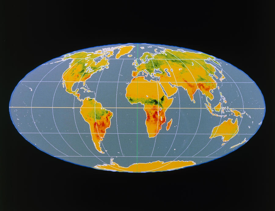 Map Photograph - breathing Earth Co2 Input/output, Global Map by Nasa