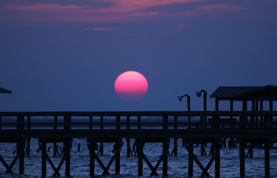 Pier Photograph - Breathtaking Sunset Over Calcasieu Lake Pier by Debi York