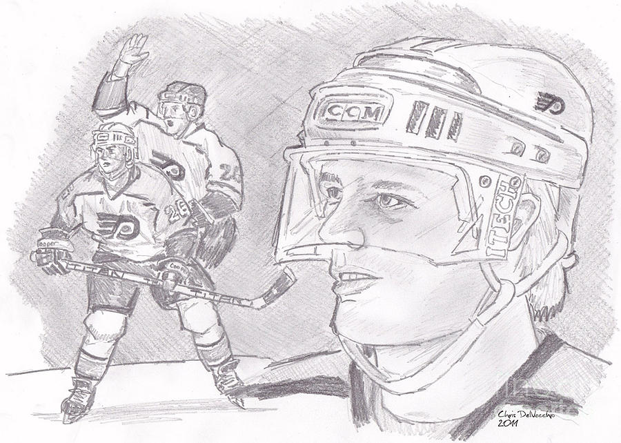 Flyers Drawing - Brian Propp by Chris  DelVecchio