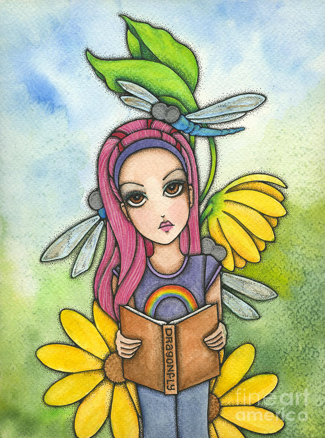 Girl Painting - Briannas Dragonflies by Nora Blansett