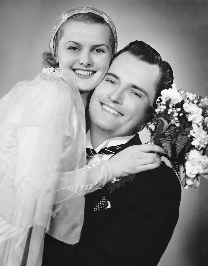 Adult Photograph - Bride And Groom, Portrait by George Marks