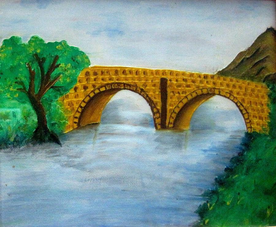 Bridge Painting - Bridge-acrylic Painting by Rejeena Niaz
