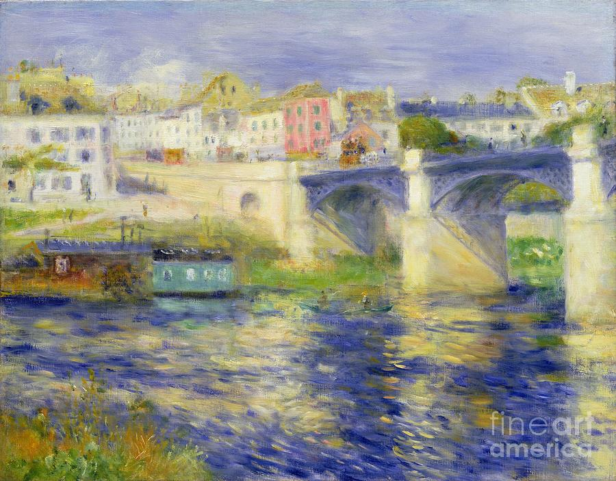 Water Painting - Bridge At Chatou by Pierre Auguste Renoir