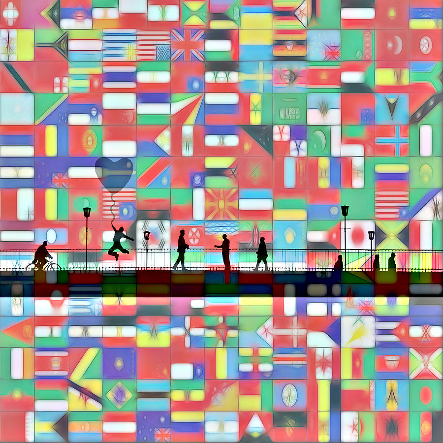 Bridge Between Nation Nations Friendship Painting Flag Flags United One World Expressionism Impressionism Color Colorful Art Modern Comic Pop Couple Man Woman Child Children People Walk Walking Understanding Help Each Other Love Loving Couple Painting - Bridge Between The Nations by Steve K