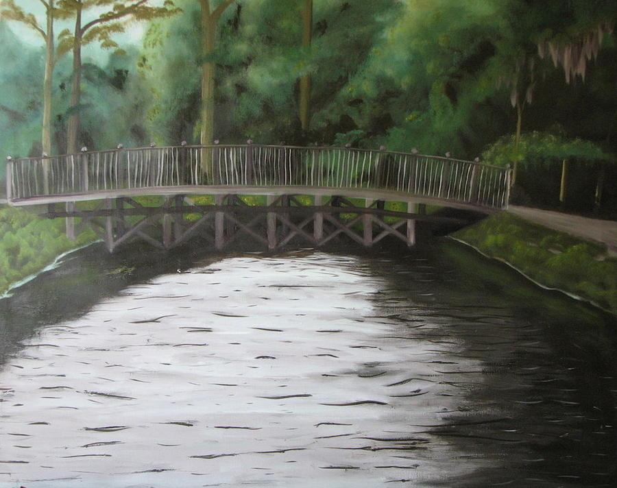 Landscape Painting - Bridge  Over River by Iris Nazario Dziadul