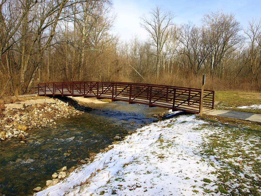 Bridge Photograph - Bridge Over The Creek In Winter by Mike Stanfield