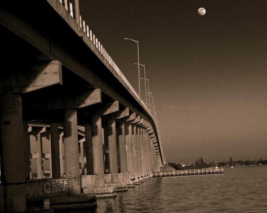 Bridge Photograph - Bridge To The Moon by Roger Wedegis
