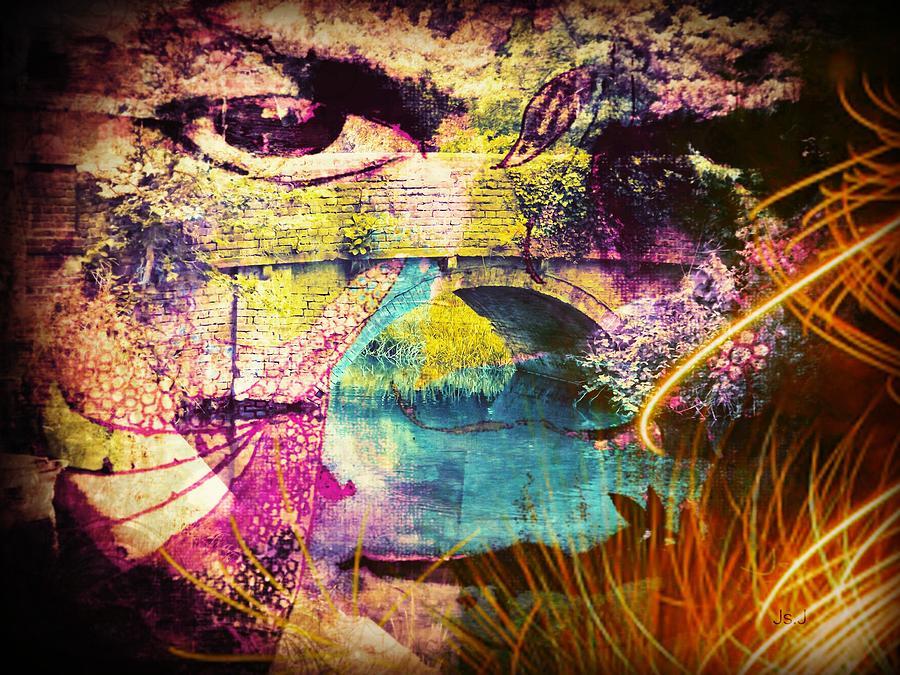 Mixed Media Digital Art - Bridge With A View by Jan Steadman-Jackson