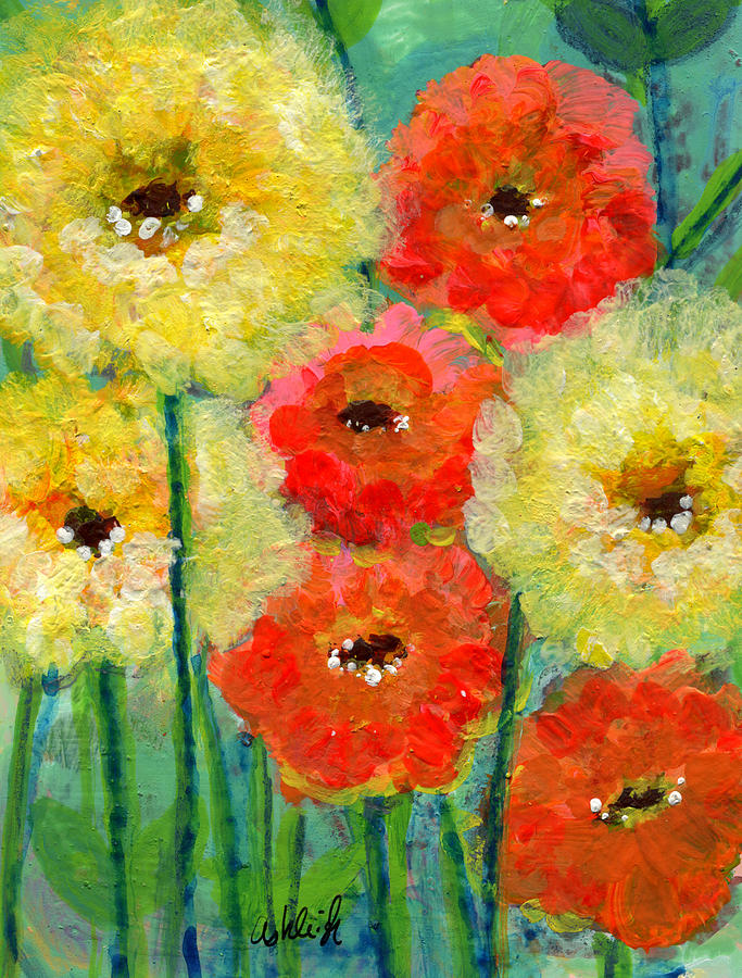 Bright Colored Flowers Shine Painting By Ashleigh Dyan Bayer