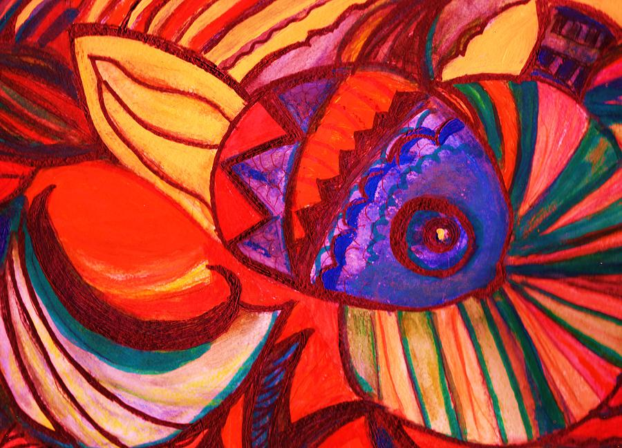 Fish Painting - Bright Fishy With Fans And Swirls by Anne-Elizabeth Whiteway
