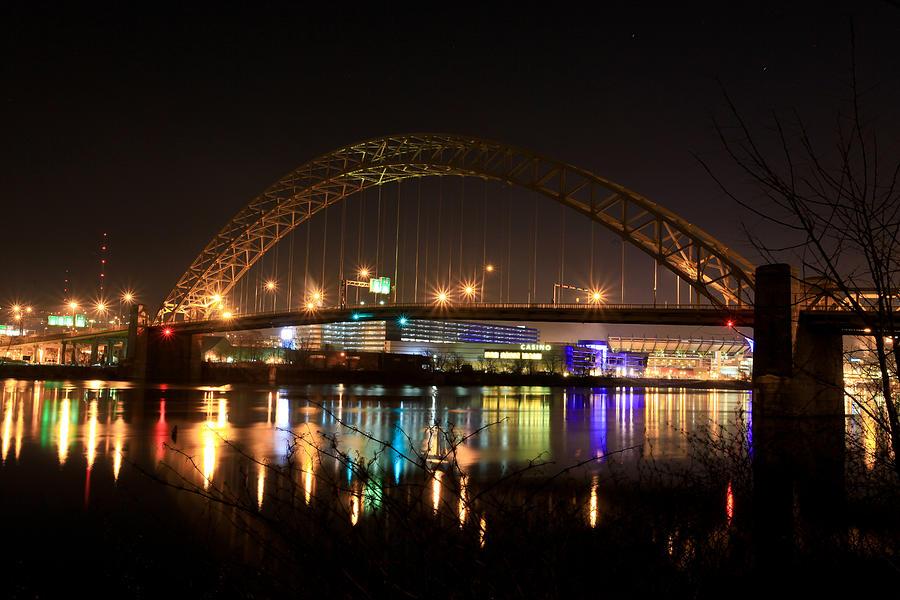Pittsburgh Steelers Pirates City Night Skyline Water Bridge Lights Downtown Dark Quiet West End Bridge Casino River Arch Suspension  Photograph - Bright Lights Big City by Jimmy Taaffe