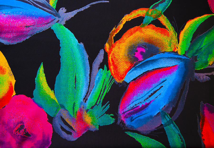 Silk Photograph - Bright Orange Red Romantic Flowers Abstraction On A Black Background by Larisa Karpova