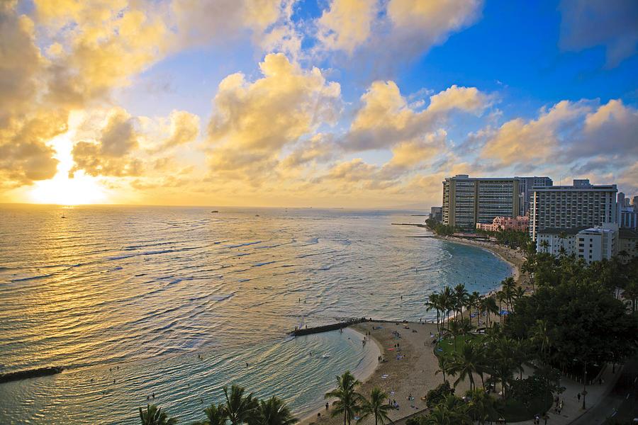 Aerial Photograph - Bright Waikiki Sunset by Tomas del Amo