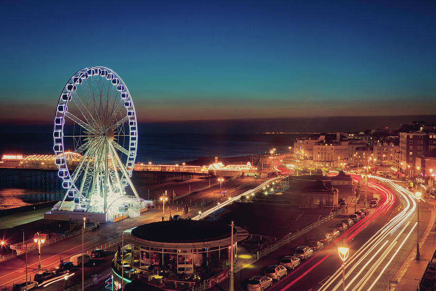 Horizontal Photograph - Brighton Wheel And Seafront Lit Up At Night by PhotoMadly