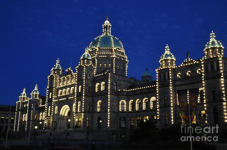 British Columbia Photograph - British Columbia Parliament Building At Night by Tanya  Searcy