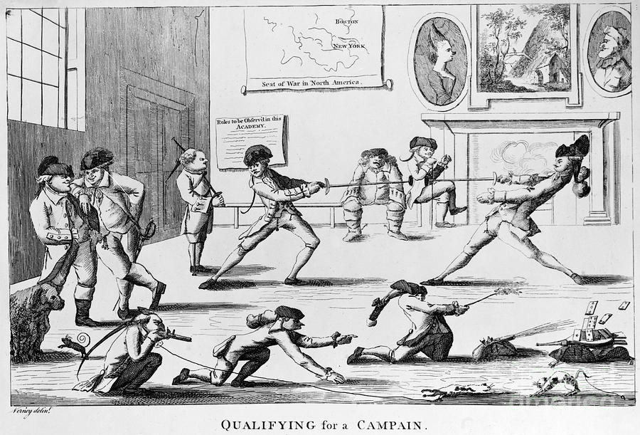 British Officers Cartoon English Cartoon Satire 1777 On The