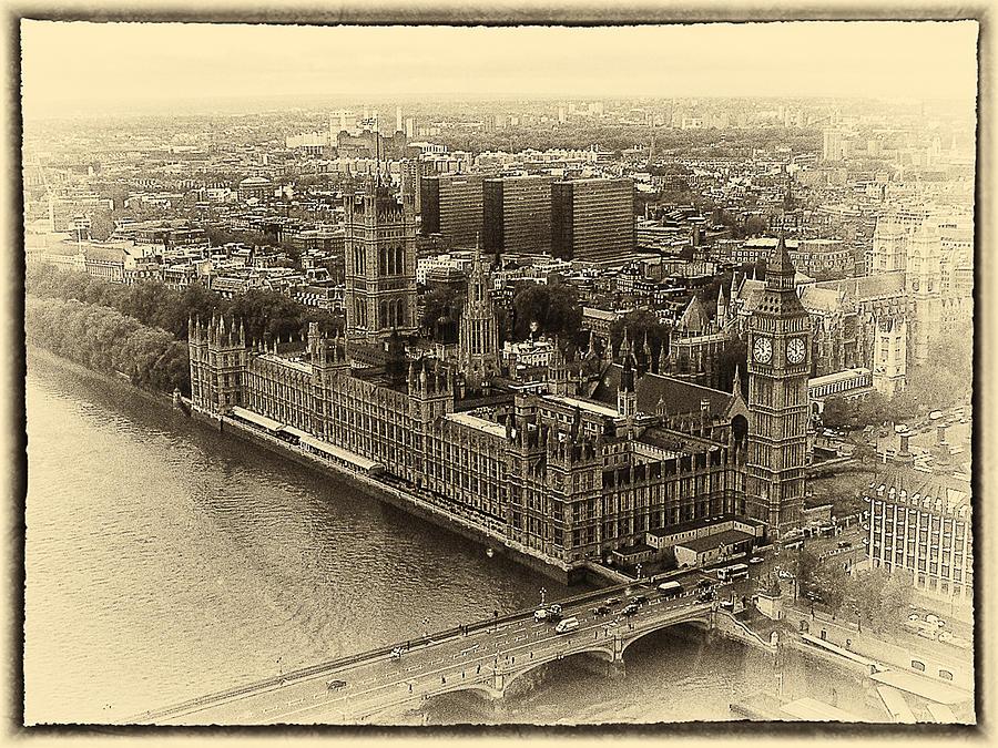 B&w Photograph - British Parliment by Scott Massey