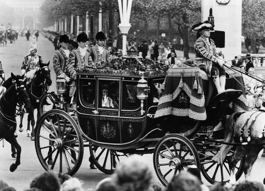 1970s Photograph - British Royalty. In Carriage, From Left by Everett