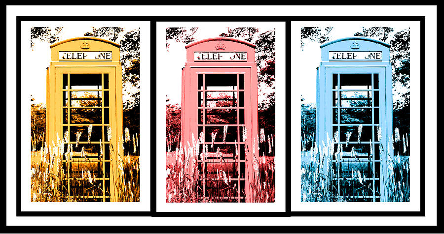 Triptych Photograph - British Telephone Booth in a Field in Maine by Kara Ray