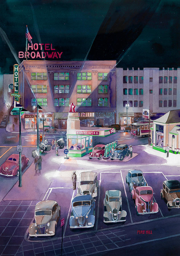 Broadway And Burnside 1941 Painting by Mike Hill